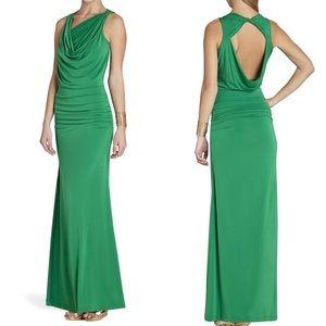 👗BCBG Draped Neck Green Maxi Dress Size XS